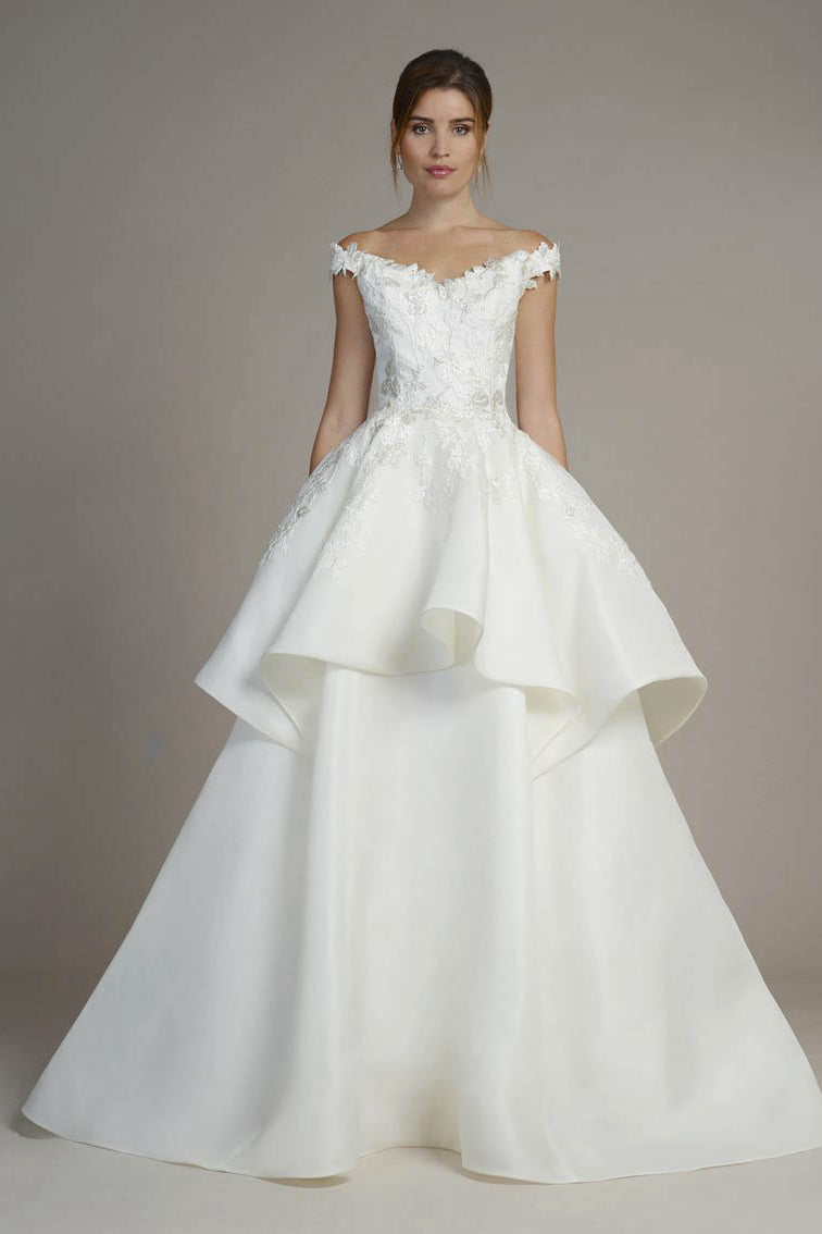 Silk Off-the-Shoulder Ball Gown Wedding Dresses with Lace Appliques ...