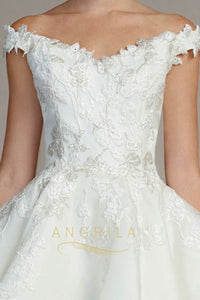Silk Off-the-Shoulder Ball Gown Wedding Dresses with Lace Appliques