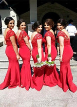 Luxurious Trumpet/Mermaid Cap Sleeves V-back Long Bridesmaid Dresses
