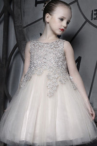 A-line/Princess Sleeveless Lace Applique Knee-length Flower Girl Dresses