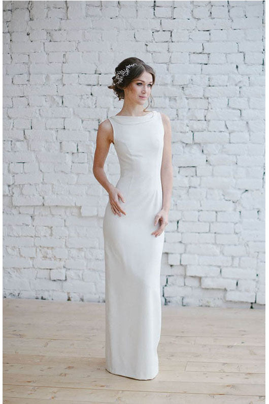 Sleek Sheath Sleeveless Satin Simple Wedding Dresses