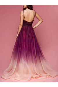 Ombre V Neck Long Cheap Formal Dresses Prom Dresses Online