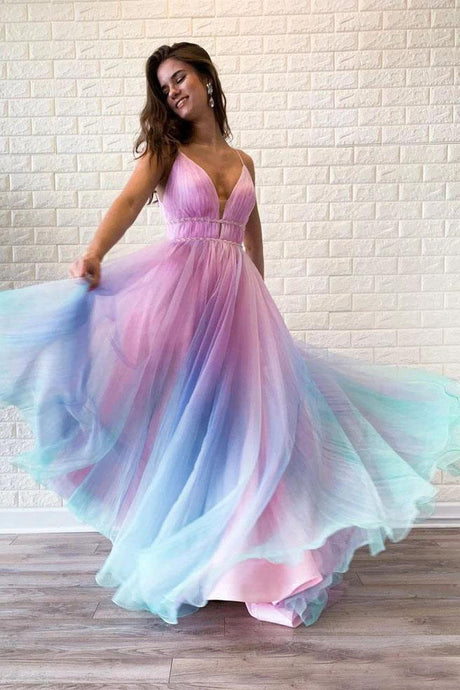 Ombre Spaghetti Straps Sleeveless A Line Prom Dress/ Custom Dresses Online