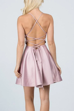 A-Line Spaghetti Straps Short Homecoming Dress with Criss Cross Back