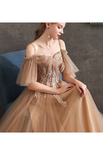 Long Tulle Formal Prom Dress A Line with Off-the-shoulder