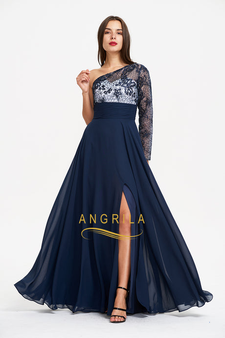 Best Selling A-line One Sleeve Chiffon Navy Evening Gown with Lace