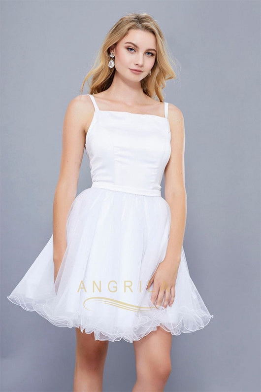 Unique A-line/Princess Spaghetti Straps Short Formal Prom Dresses with Ruffles