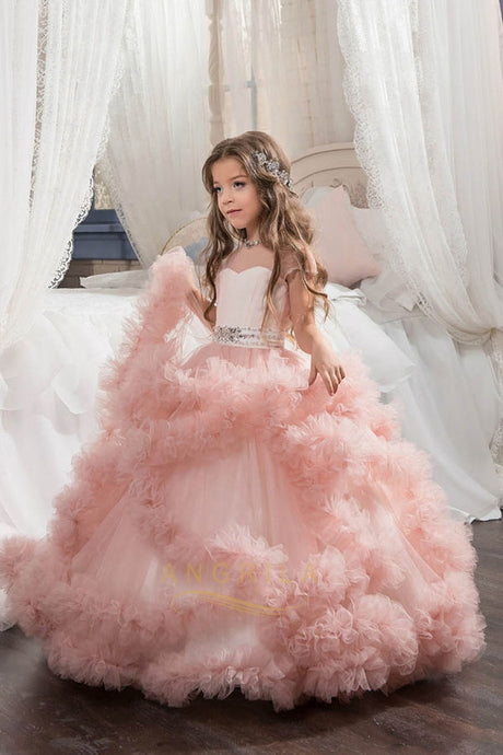 Ball Gown Tulle Floor-length Layers Flower Girls Dresses