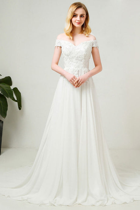 A-Line/Princess Off-the-Shoulder Chiffon Wedding Dresses with Lace Appliques