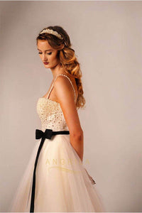 A-line/Princess Spaghetti Straps Beaded Bodice Tulle Vintage Wedding Dresses