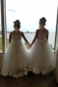 Funky Spaghetti Straps Tulle Flower Girl Dresses with Bow