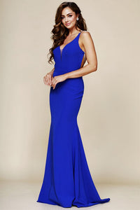 Sexy Trumpet/Mermaid V-Neck Sleeveless Beading Long Prom Dresses
