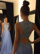 Astonishing A-line Scoop Sleeveless Beading Long Chiffon Formal Prom Dresses