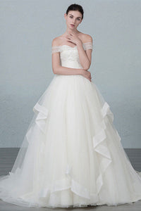 A-line/Princess Off-the-Shoulder Beading Long Lace-up Bridal Wedding Dresses