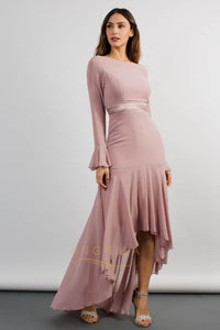 Elegant High-Low Bateau Neckline Wedding Guest Dress with Long Sleeves