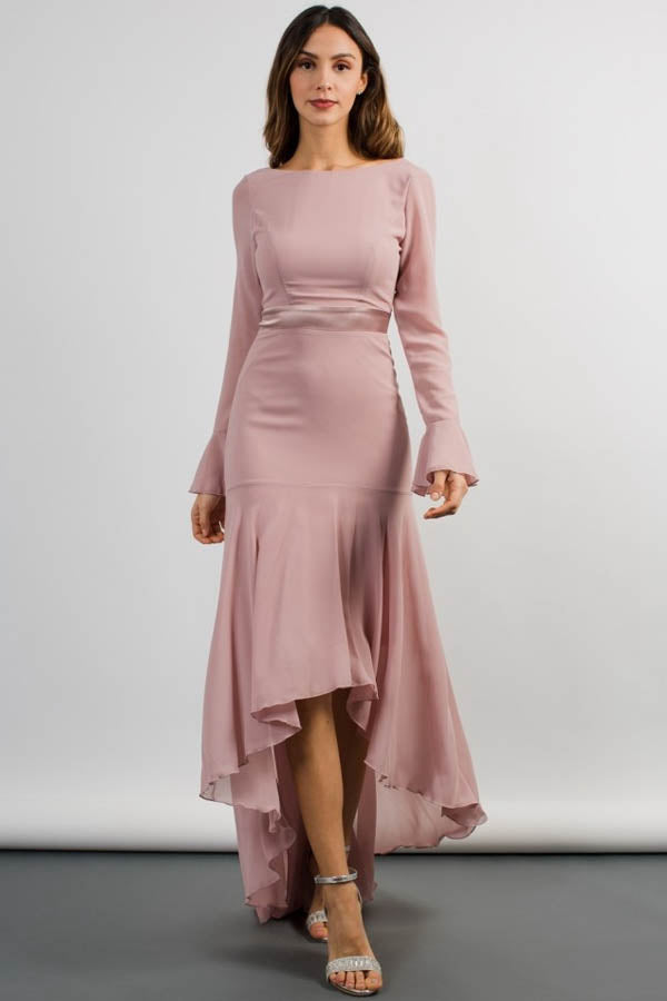 Wedding Guest Dresses With Sleeves.Elegant High Low Bateau Neckline Wedding Guest Dress With Long Sleeves