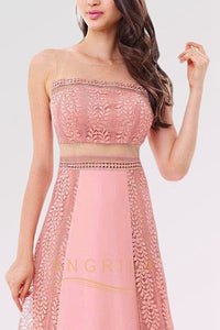 A-line Two Piece Illusion Long Sexy Sleeveless Prom Dresses