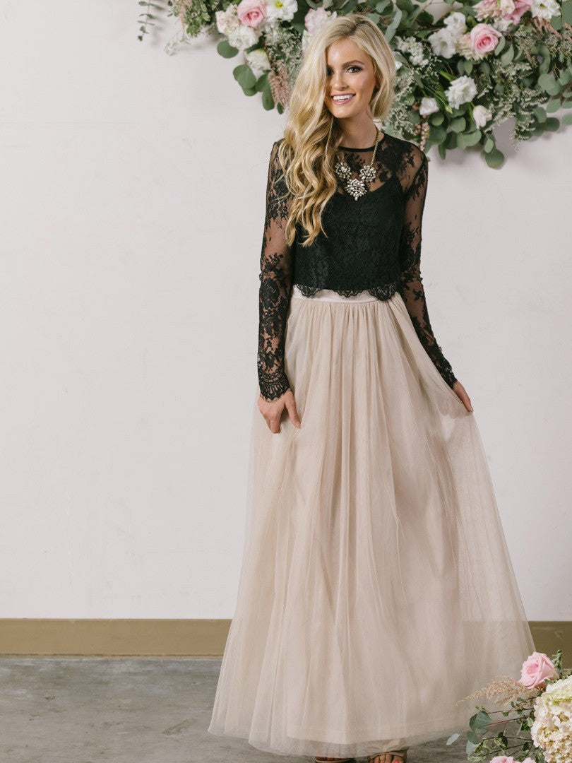 Courtlike Long Sleeves Scoop A-line Ankle-length Prom Dresses