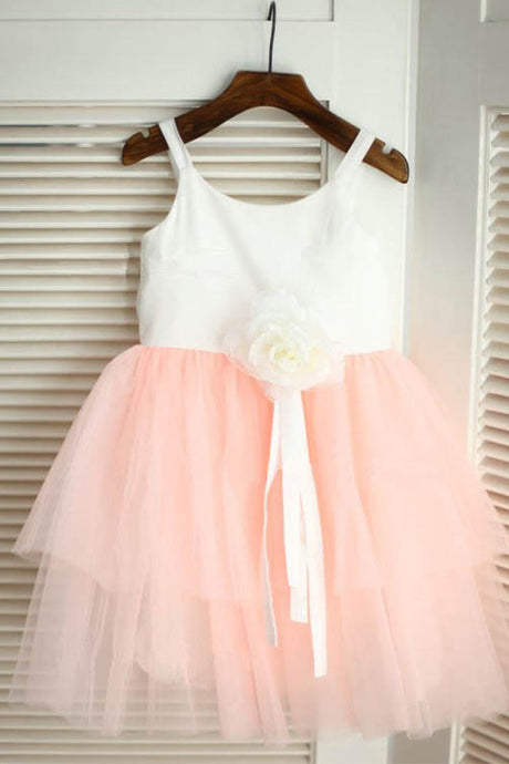 Trendy A-line/Princess Tulle Sleeveless Flower Girl Dresses with Handmade Flowers
