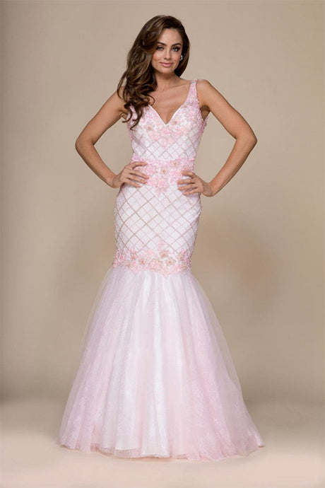 Trumpet/Mermaid V-Neck Sleeveless Beading Long Formal Prom Dresses