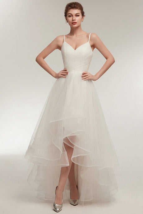 High-Low V-Neck Spaghetti Straps Simple Wedding Dresses