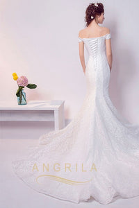 Sexy Trumpet/Mermaid Off-the-Shoulder Sweetheart Lace Bridal Wedding Dresses