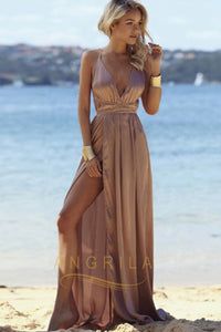 Sexy Spaghetti Strap Deep V-Neck Criss-cross Long Prom Dresses with split