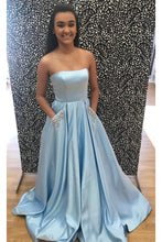 Strapless Stain Prom Dresses with Pockets
