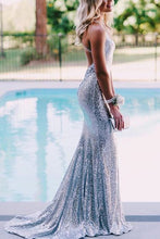 Silver Sequins V Neck Backless Prom Dress with A Sweep Train