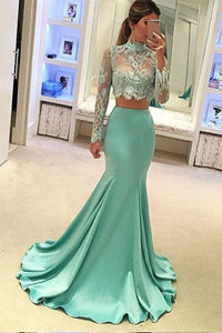 Two Piece Mermaid High Neck Lace Prom Dress with Long Sleeves
