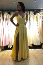 Spaghetti Straps Open Back Prom Dresses with Split