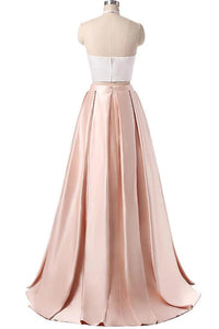 Two Piece High Neck Halter Long Homecoming Dress