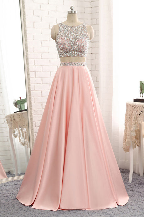 Two Piece Jewel Prom Dress with Sequins