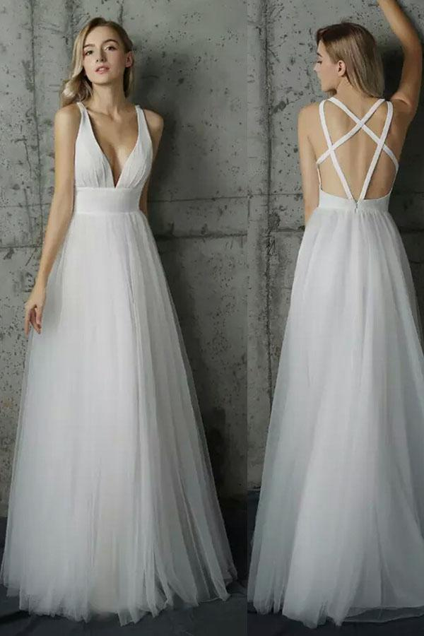 Simple A Line V-neck Sleeveless Tulle Wedding Dresses