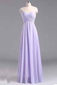 Sweetheart Sleeveless Chiffon Long Bridesmaid Dresses
