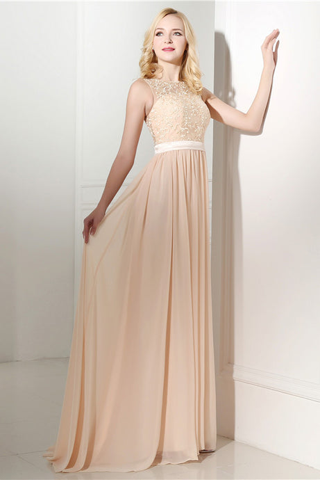 Princess sleeveless Lace Top Long Chiffon Sweep Train Bridesmaid Dresses
