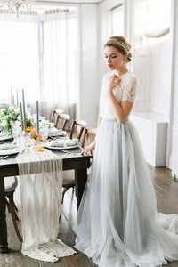 Elegant Tulle Lace Two-Piece Long Prom Dress