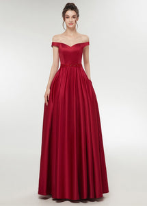 A-line Off-the-Shoulder Satin Ball Gown Prom Dress