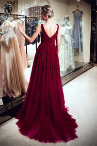 V-Neck Sweep Train Prom Dresses with Beaded