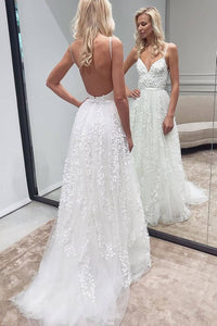 A-line Tulle Spaghetti Straps Long Wedding Dresses