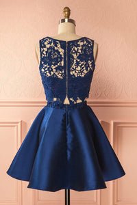 A-Line Two Piece Jewel Satin Homecoming Dresses with Lace