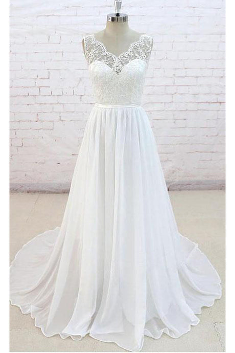 Sleeveless Long Chiffon Wedding Dress with Lace