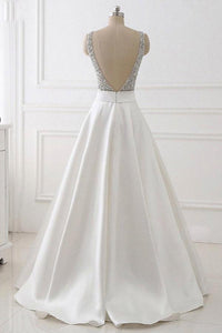 A-Line Deep V-neck Sleeveless Open Back Sweep Train Formal Dress/ Wedding Dress with Sequins