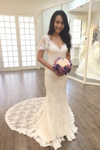 Elegant V Neck 1/4 Sleeves Sheath/Column Bridal Wedding Dresses with Lace