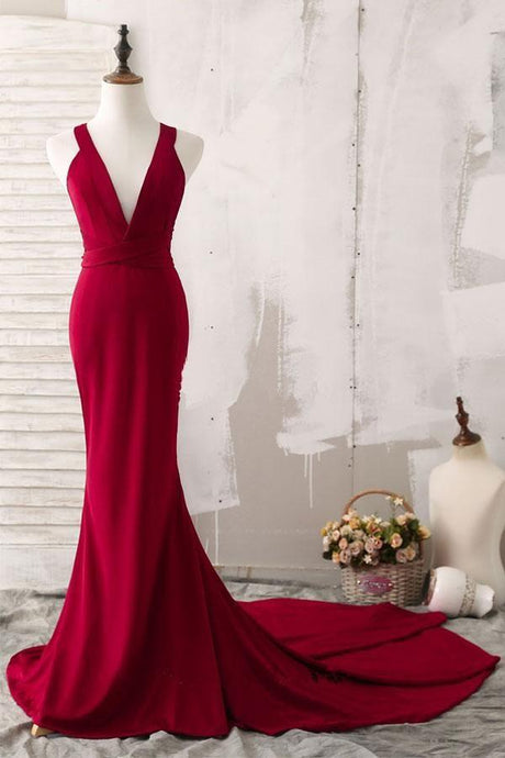 V Neck Sheath/Column Prom Dress with Court Train
