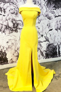 Bright Off-the-Shoulder Sheath/Column Prom Dress with Split