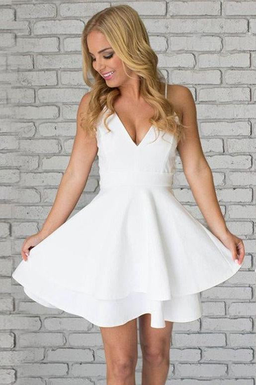 Short Spaghetti Straps V Neck Lace Homecoming Dress