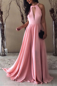 Halter Straps Sleeveless Long Evening Dresses
