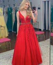 Deep V Neck Sleeveless Long Prom Dress