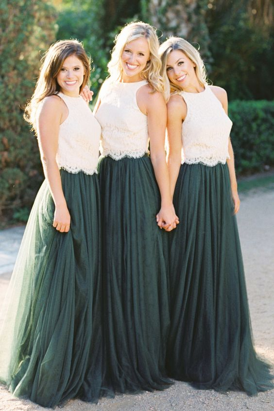 Two-piece Jewel Tulle Bridesmaids Dress with Lace